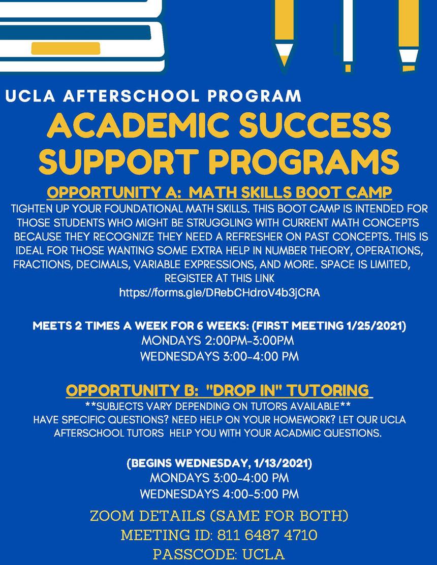 UCLA AFTERSCHOOL academic support progra