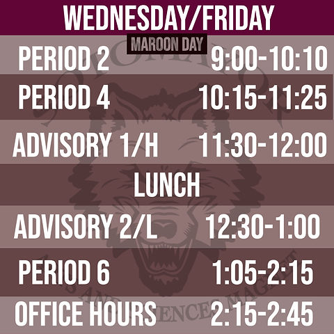 Even Periods (Maroon Day) Spring Semeste