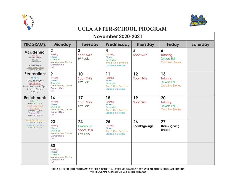 Sotomayor November Online Program Schedu