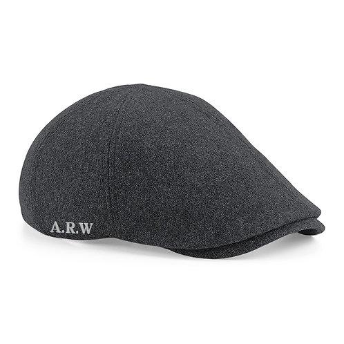 Fabrich Personalised Melton Wool Flat Cap - Charcoal