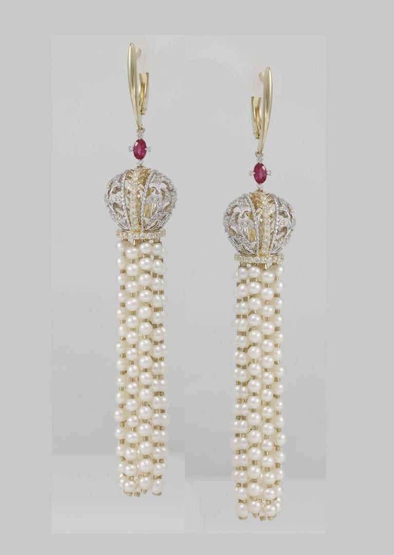 """Жемчужные сереги """"Императорская корона с бриллиантами и рубинами"""""""