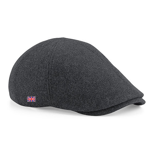 Fabrich Union Melton Wool Flat Cap - Charcoal