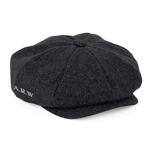 Fabrich Personalised Melton Wool Baker boy Cap - Charcoal