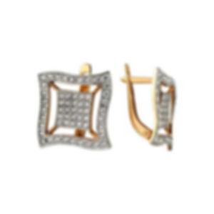 женские серьги с фианитами из золота