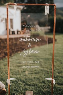 Manor House Acrylic Wedding Sign