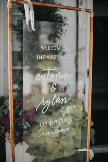 Acrylic Calligraphy Wedding Sign | Colorado Manor House Wedding Planner