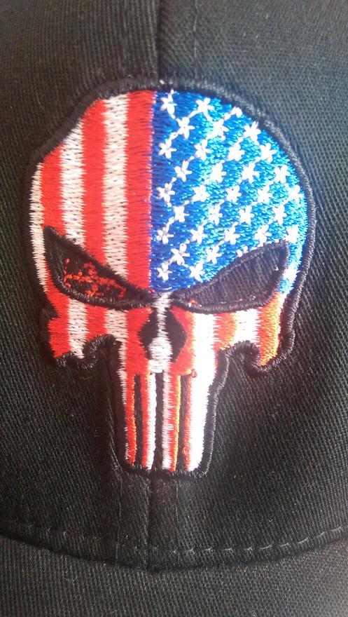 c195d3c42c834 Full color USA flag punisher flex fit hat