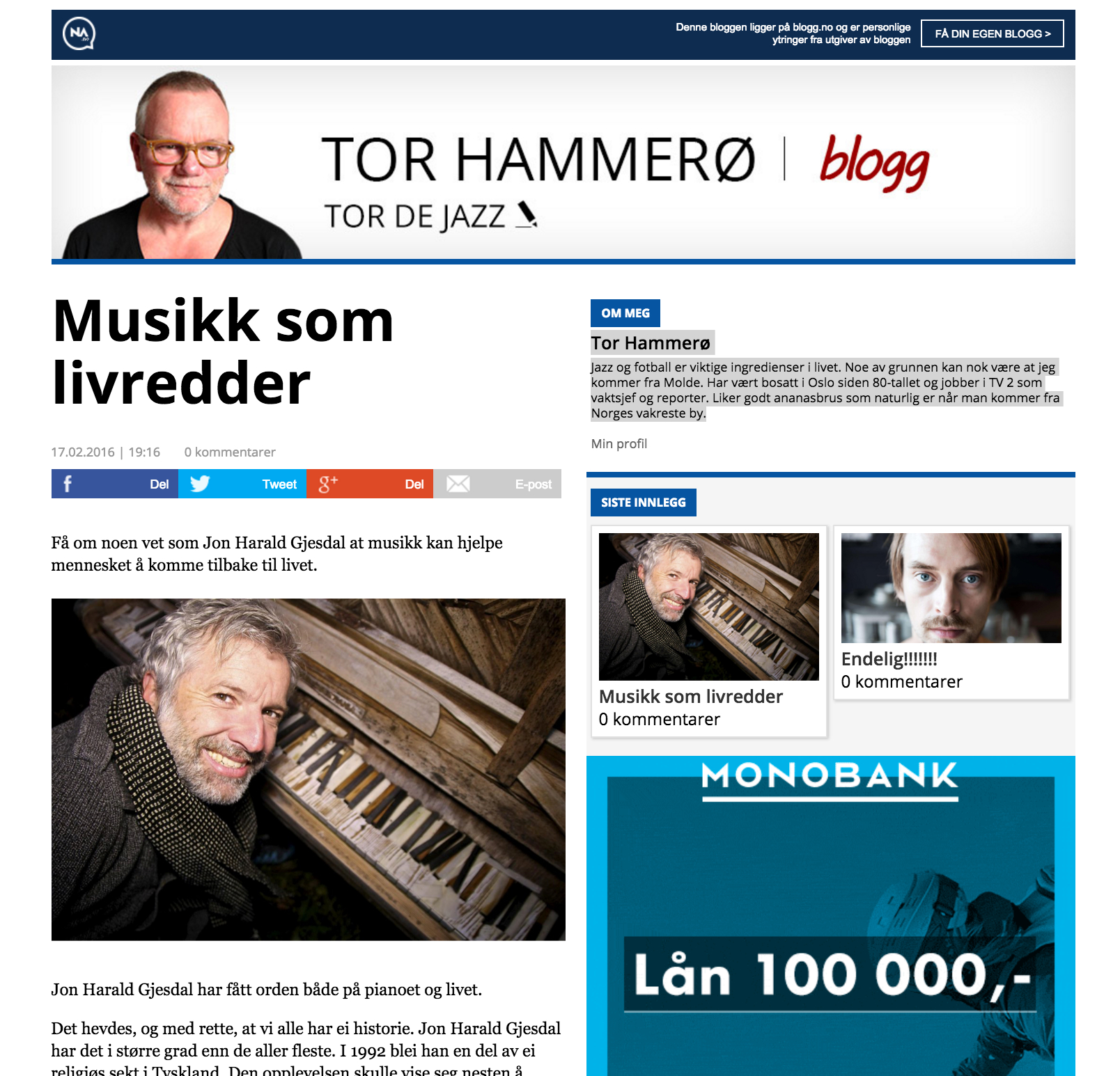 Tor Hammerø (National TV2/Blog/Netta