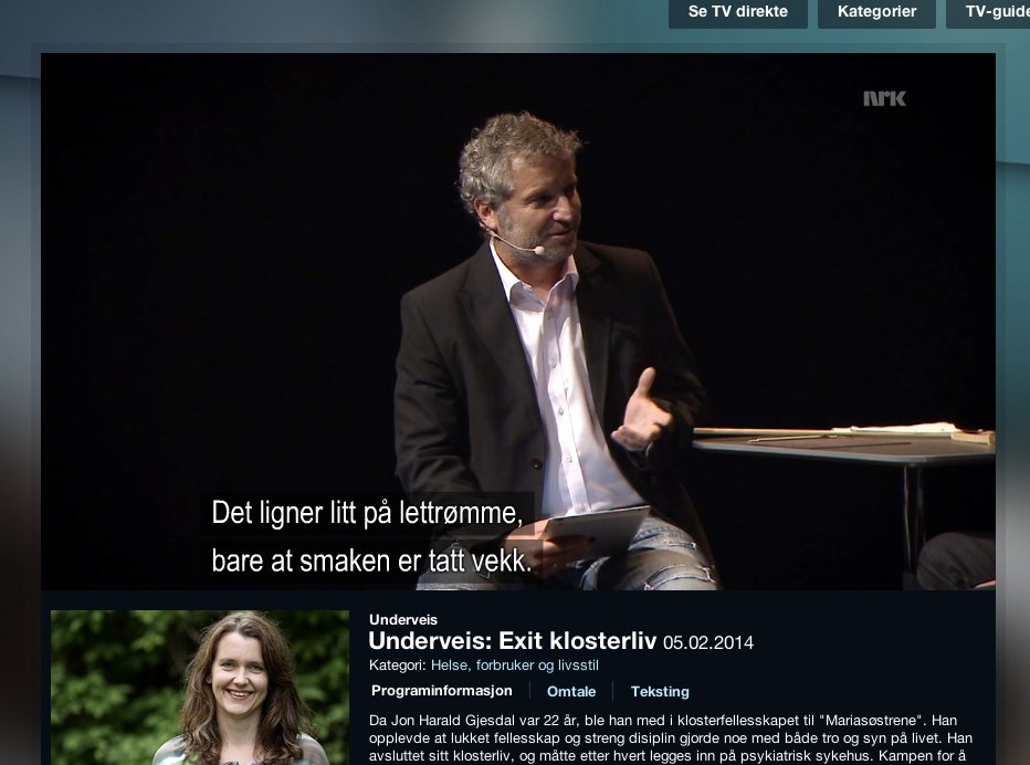NRK1 EXIT KLOSTERLIV JON HARALD GJESDAL