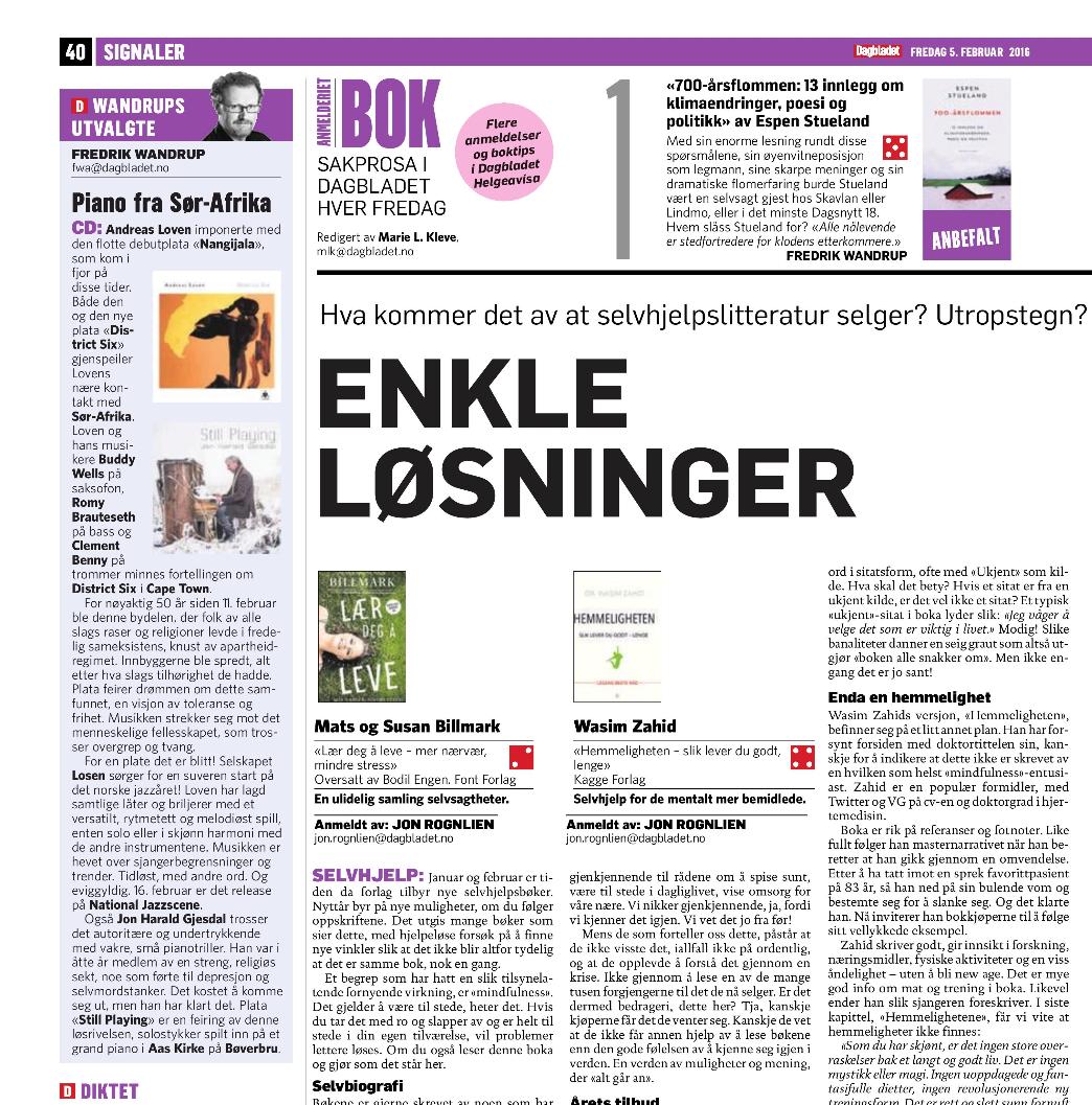 """""""Wandrups utvalgte"""" in Dagbladet"""