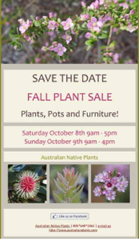 Save The Date postcard for the Fall Plant Sale at Australian Native Plants.