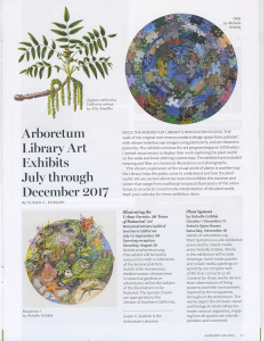 The 2017 Summer/Fall issue of The Arboretum's magazine has a page featuring the upcoming exhibitions in The Arboretum's library.