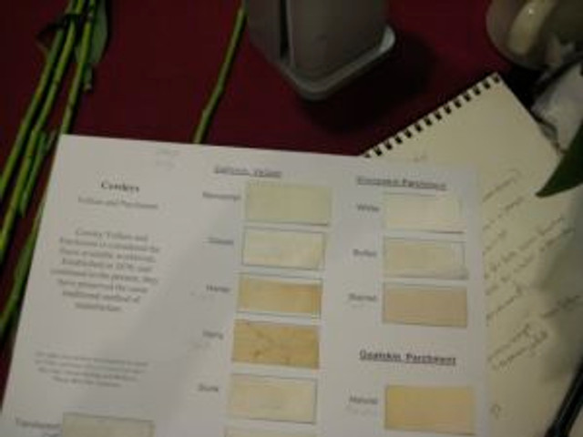 Sample card of different types of vellum
