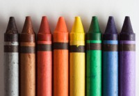 Eight crayons; photo from DataPointed: http://www.datapointed.net/2010/01/crayola-crayon-color-chart/