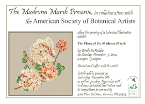 "Invitation to ""The Flora of the Madrona Marsh,"" original artwork by Estelle De Ridder."