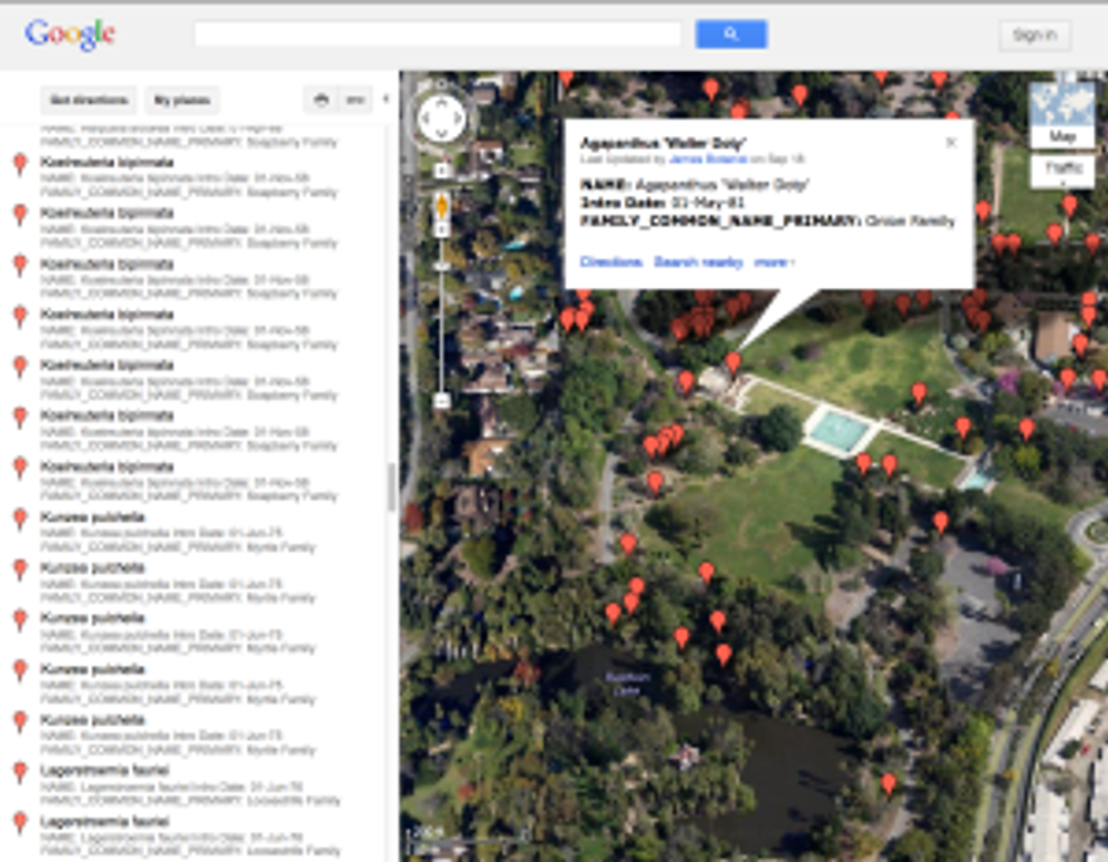 """""""Satellite"""" view of the Google map of the locations of Arboretum introductions with plant information."""