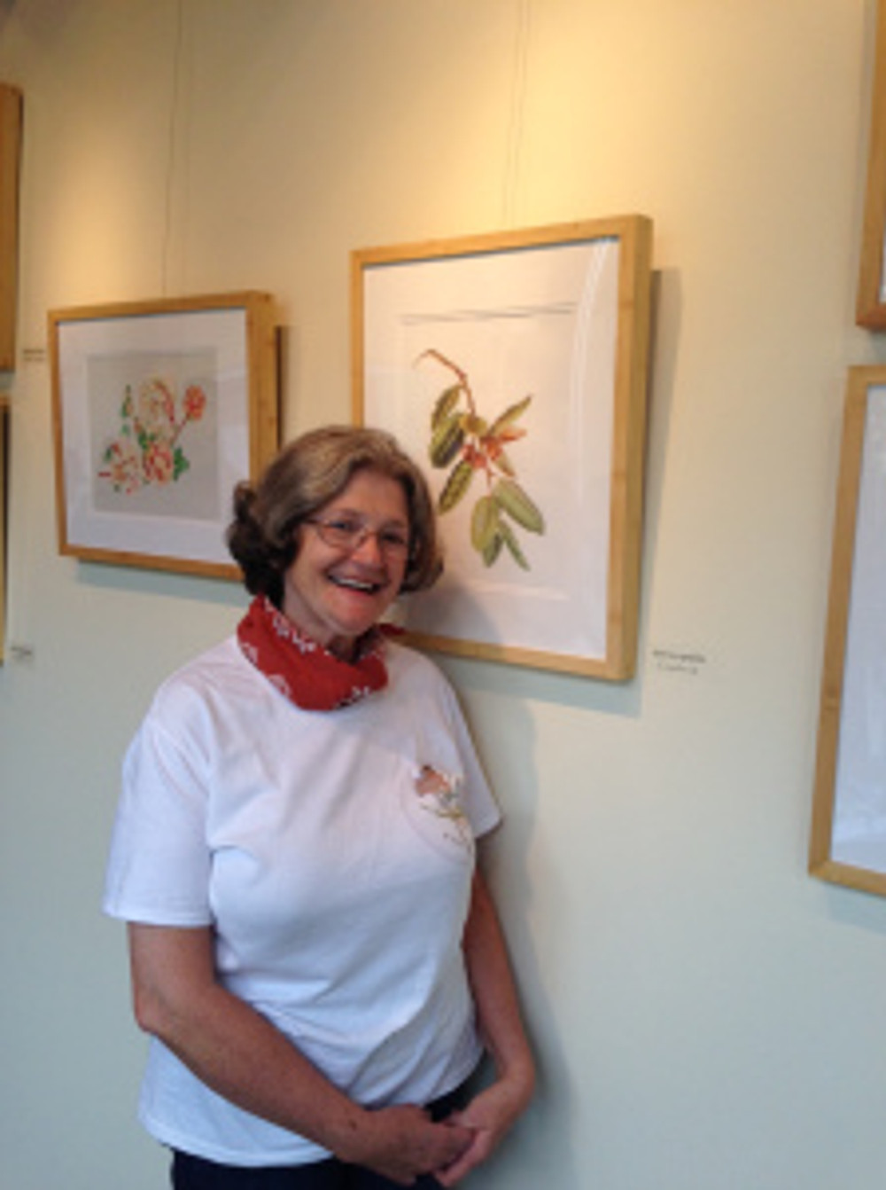 Estelle DeRidder with her artwork in the exhibition. Photo by Clara Josephs, © 2015, all rights reserved.