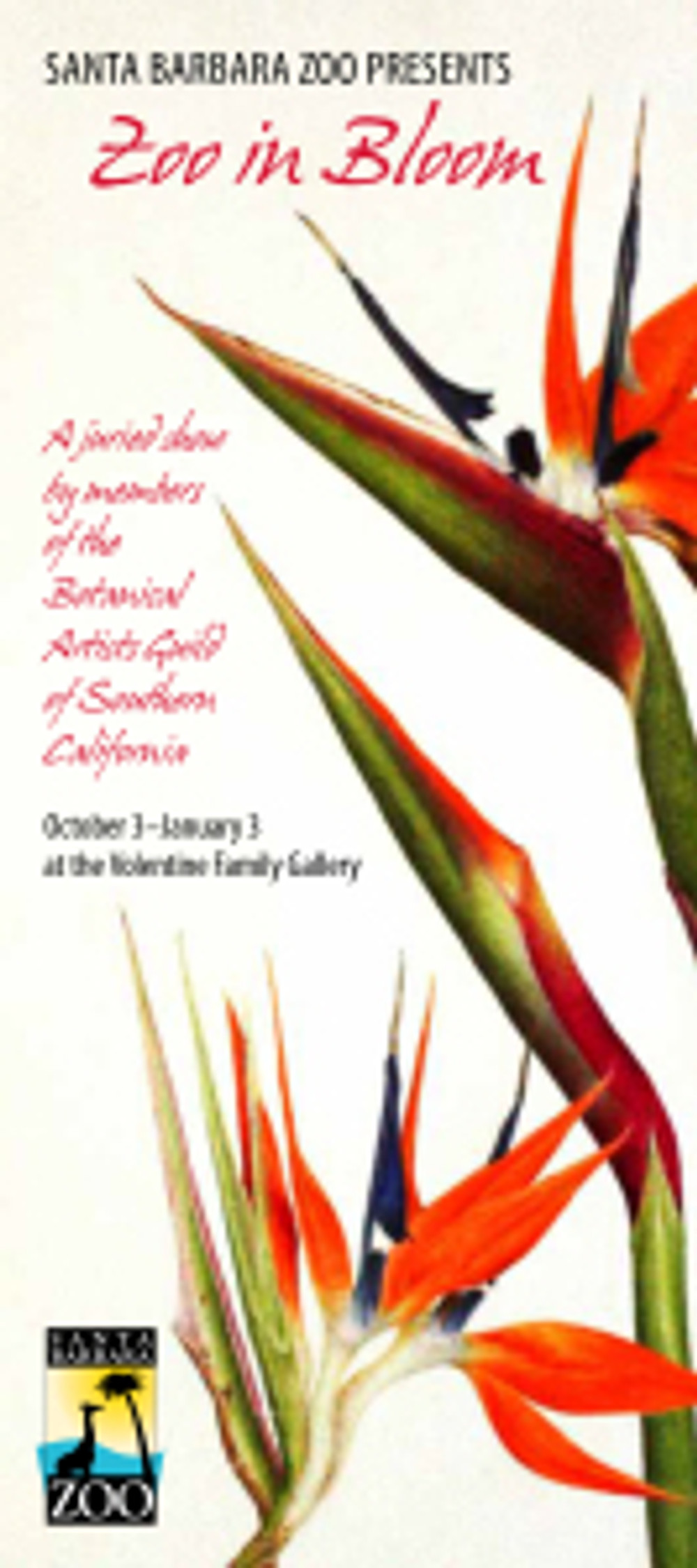 "Front of ""Zoo in Bloom"" invitation postcard, with artwork by Lori Vreeke."
