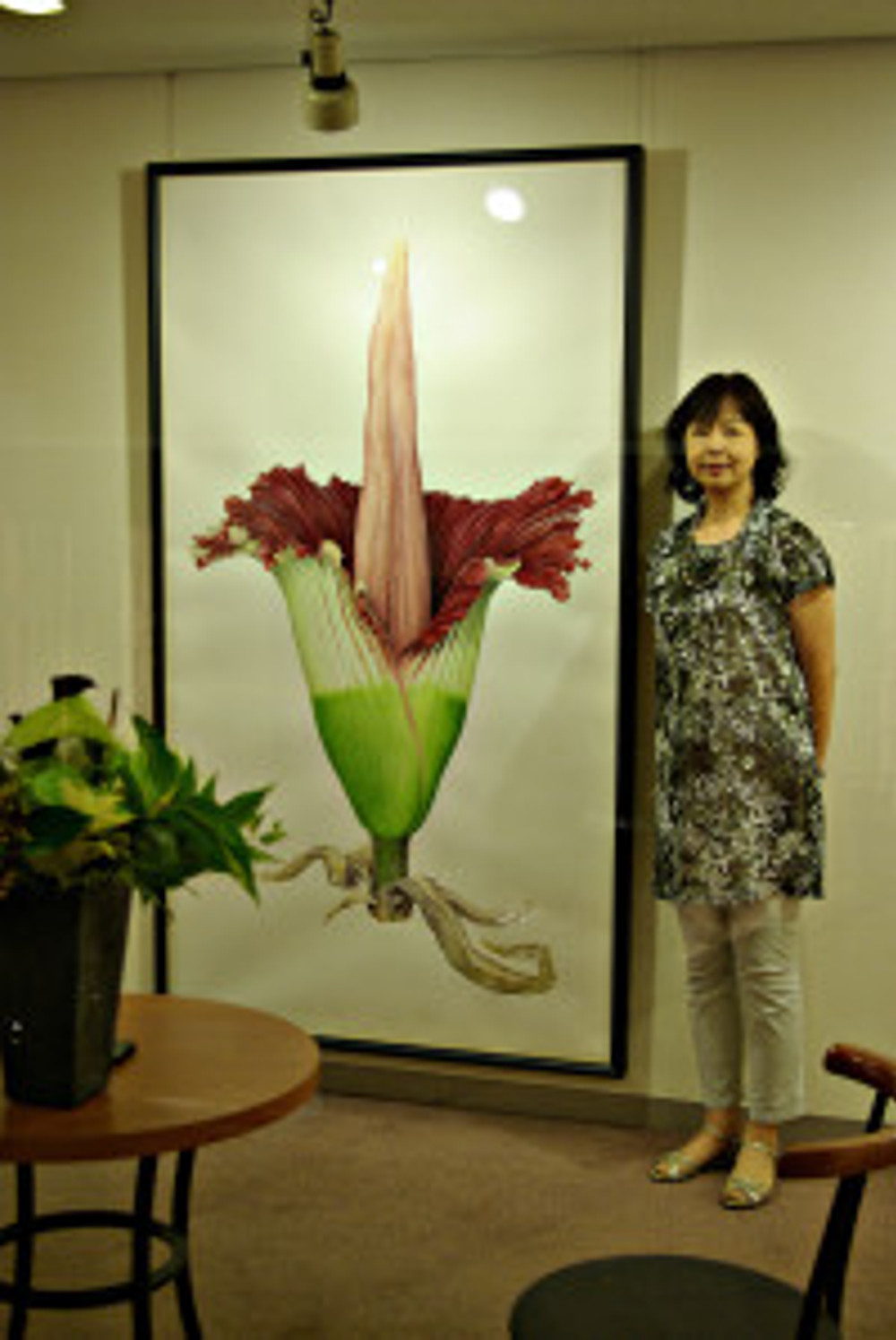 """Mieko Ishikawa with her watercolor, """"Amorphophallus titanum"""". © 2012, all rights reserved."""
