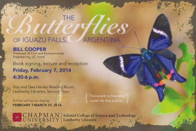 Postcard invitation for the opening for Butterflies of Iguazú Falls, Argentina, by Bill Cooper.