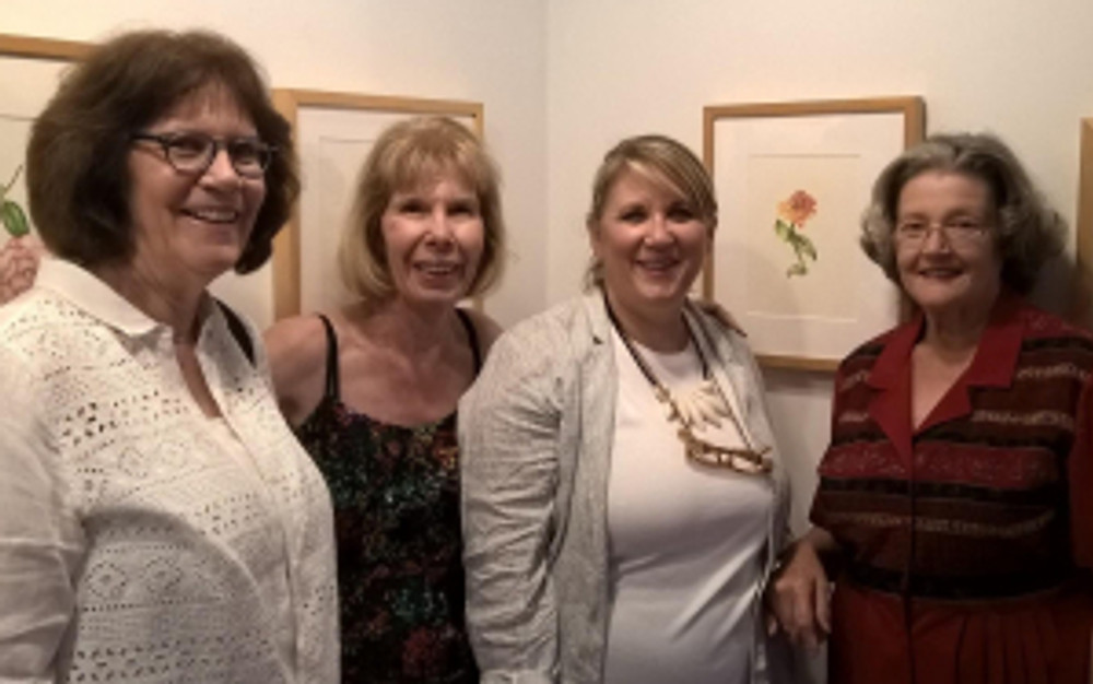 Patricia Mark with guests (left to right): Diane Daly, Patricia Mark, and Estelle DeRidder (far right). Photo credit: Jack Daly, © 2016.