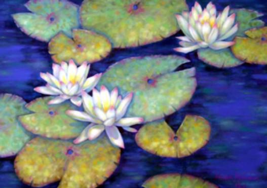 """Waterlily Garden,"" pastel by Morgan Alexandra Kari, © 2013."