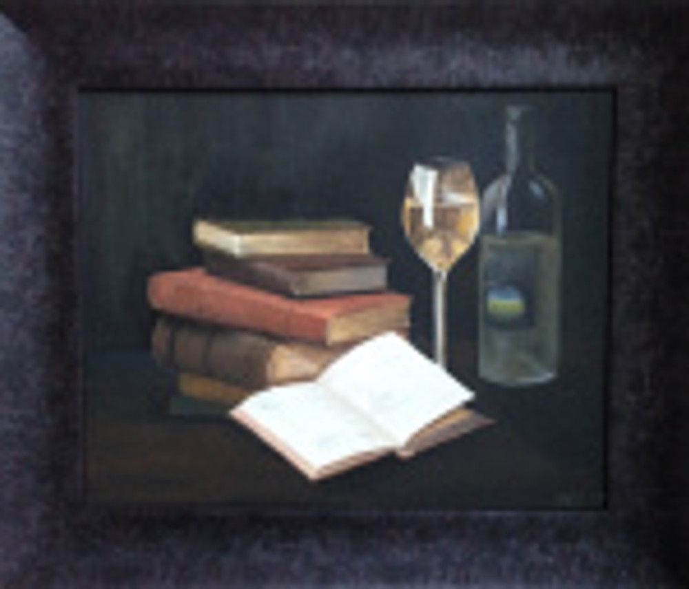 Wine & Books, acrylic on canvas by Melanie Campbell-Carter, © 2014, all rights reserved.