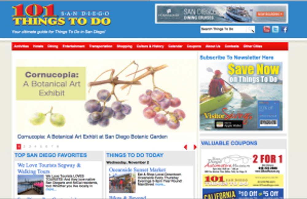 "BAGSC's exhibition ""Cornucopia"" at the San Diego Botanic Garden is on the home page of San Diego Media Marketing's website. The link has more information about the exhibition and a coupon for $2 off admission to the Garden."