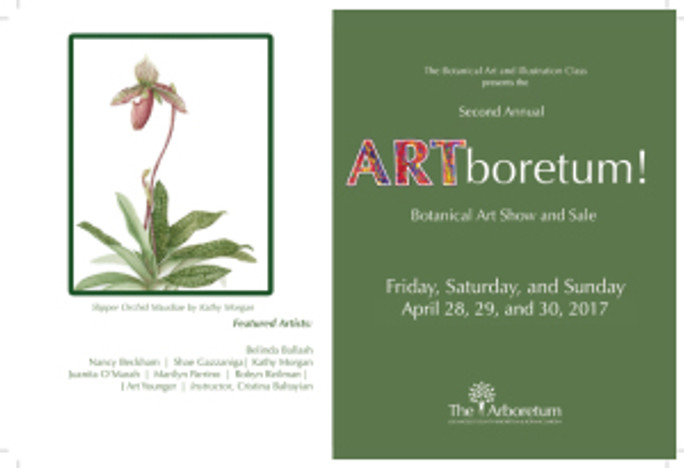 Artwork on postcard: Slipper Orchid Maudiae, © 2017, Kathy Morgan