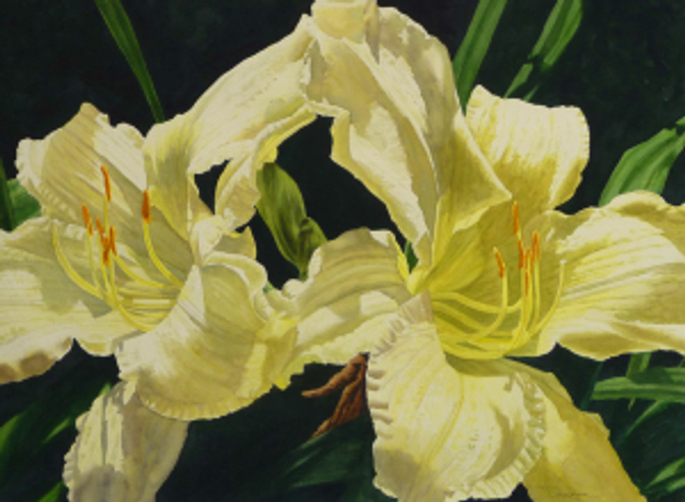 Kathy Dunham painting, two day lilies