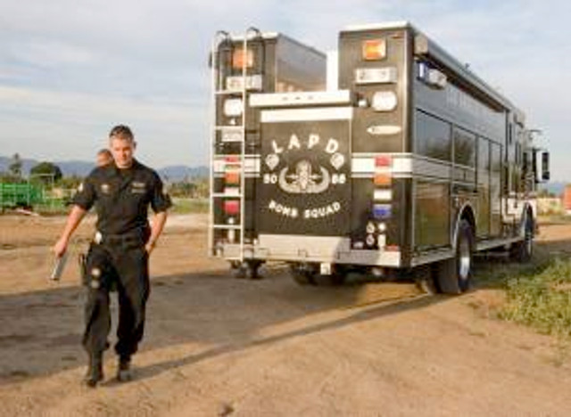 """File photo of the Bomb Squad, reproduced from the """"LAObserved Native Intelligence"""" article, """"A visit from the Bomb Squad,"""" by Nancy Boyarsky, published online Septemer 2, 2015, 12:33 am. See link in this article. © 2015 LAObserved."""