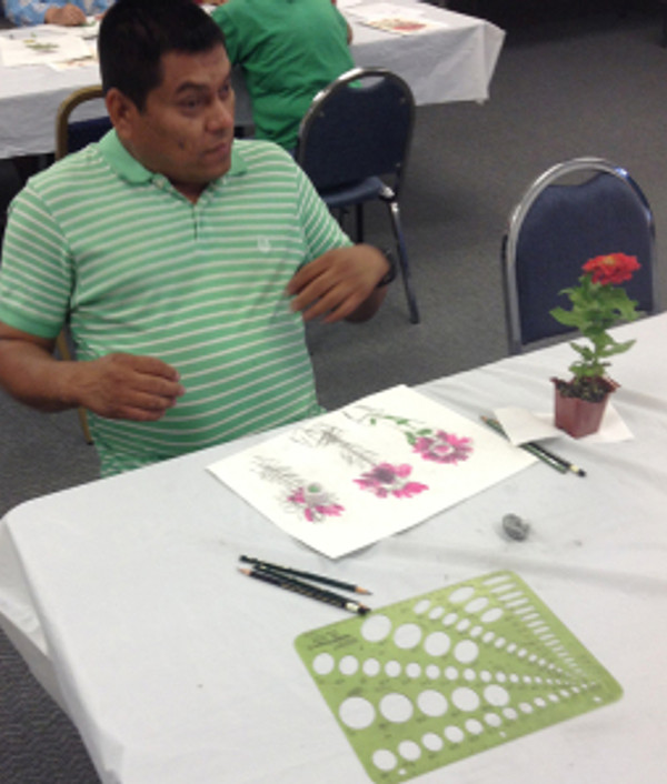 Students who were completely blind (but formerly sighted) were able to produce beautiful drawings. Photo courtesy of Bowers Museum/Council on Aging Orange County © 2014.