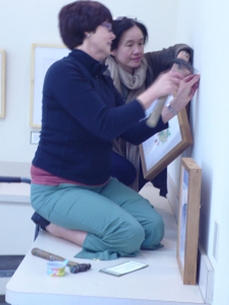 (left to right) Janice Sharp and Mitsuko Schultz hanging artwork.