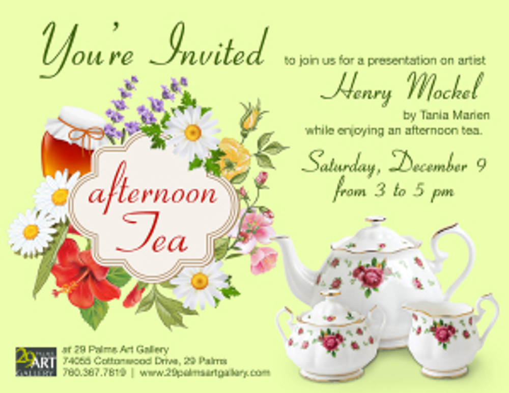 """Invitation to """"Afternoon tea and the serigraphs of Henry R. Mockel,"""" a lecture by Tania Marien."""