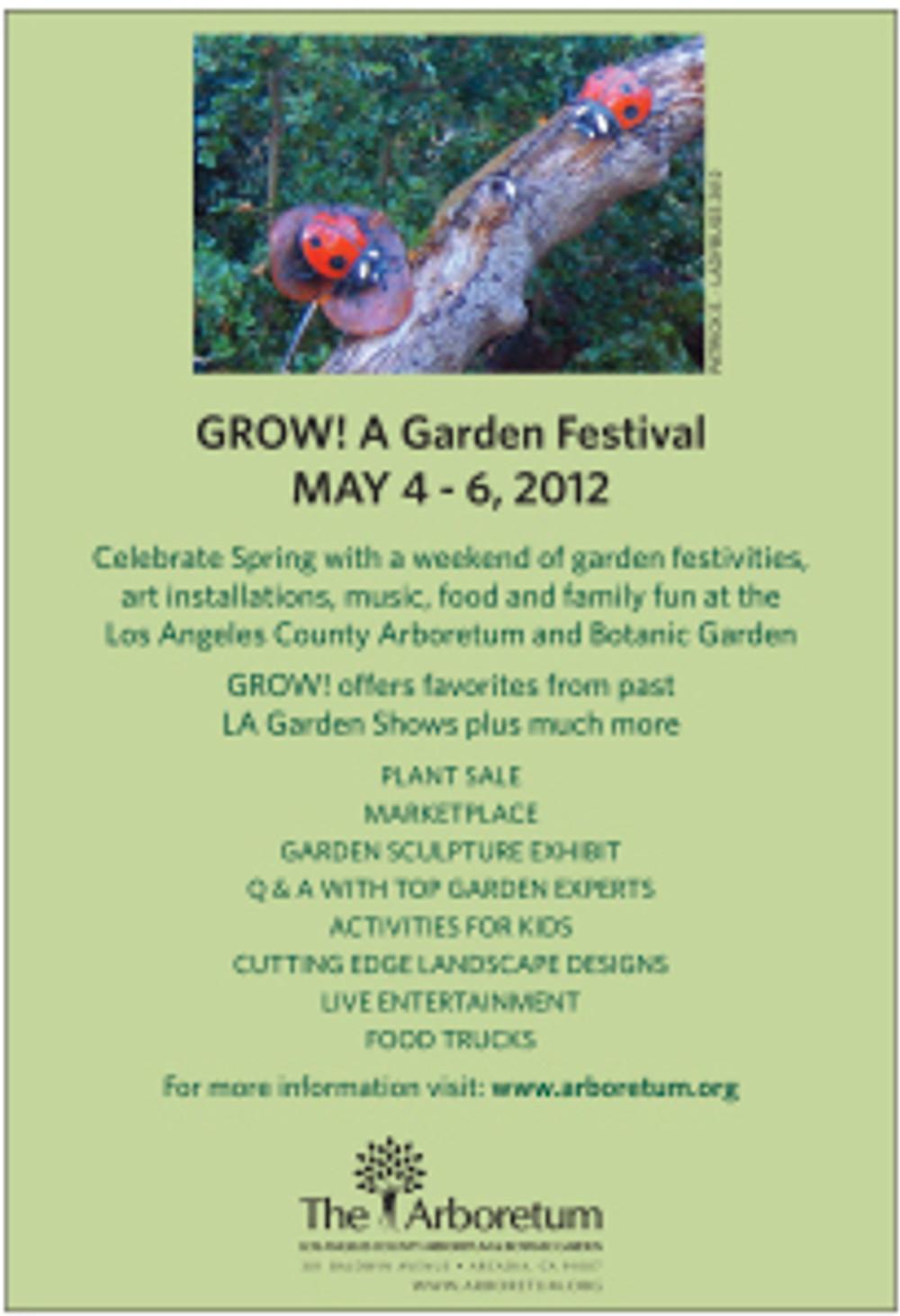 "Ad for ""Grow! A Garden Festival"" at the LA Arboretum"