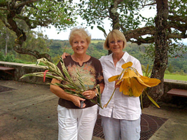 Ruth Poulton and Sue Kuuskmae at National Tropical Gardens in Kauai.