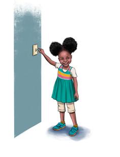 Black girl next to light switch