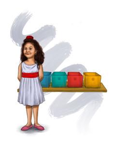Latina girl next to bins