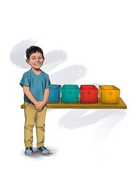 Asian boy next to bins