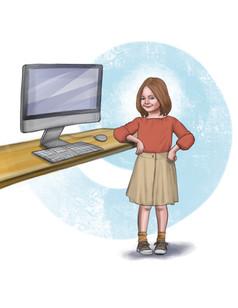 White girl next to computer