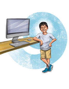 Latino boy next to computer