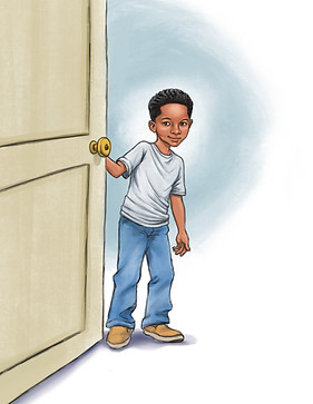 Black boy opening door