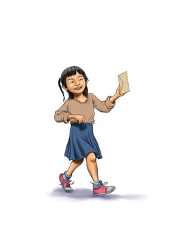 Asian girl walking down hallway