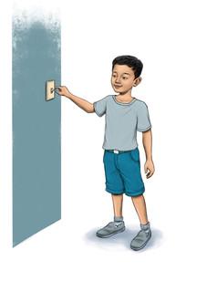 Asian boy next to light switch