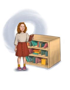 White girl next to bookshelf
