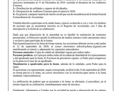 Citación a Junta Extraordinaria de Accionistas Liga La Reina S.A.