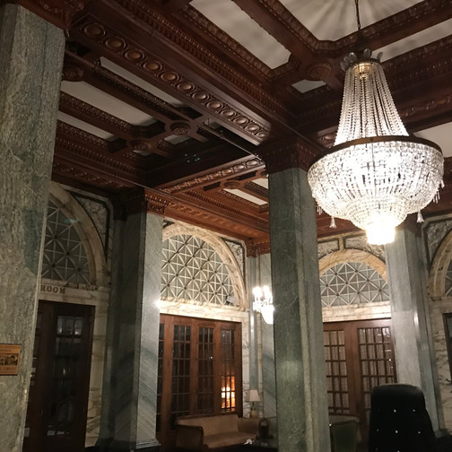 Inside the fancy lobby of the Hotel Whitcomb