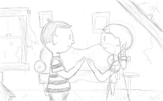 Rought sketch designs for upcoming animated short