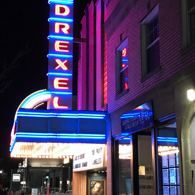 The Drexel marquee at night is just as dazzling, even without the donut truck