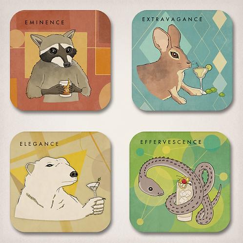 Sermonibus Animalis Coaster Set (4)